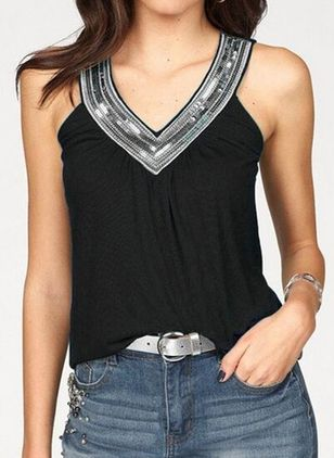 Solid V-Neckline Sleeveless Sexy T-shirts (4043500)