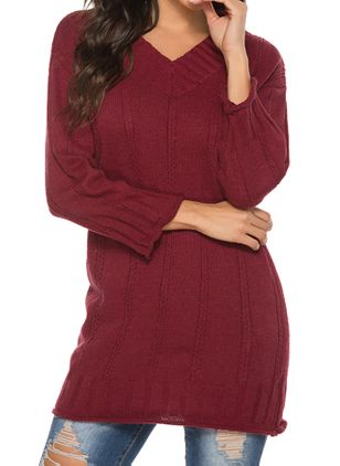 V-Neckline Solid Casual Loose Regular Shift Sweaters (147104718)