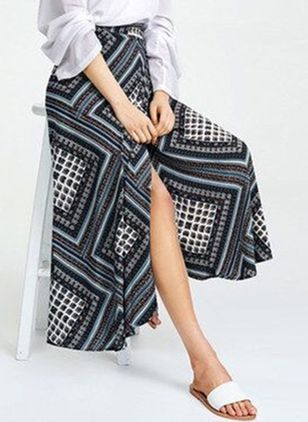 Color Block Mid-Calf Casual Sashes Skirts (4219390)