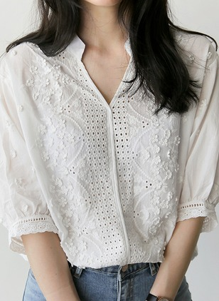 Solid Casual Cotton Collar 3/4 Sleeves Blouses