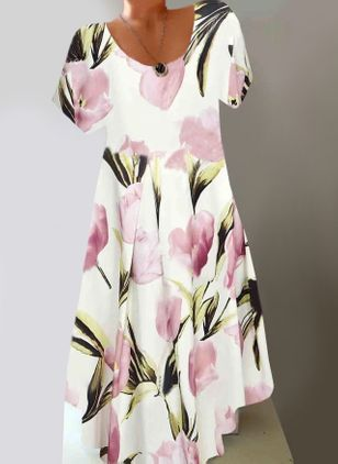 Casual Floral Tunic Round Neckline A-line Dress (147495368)