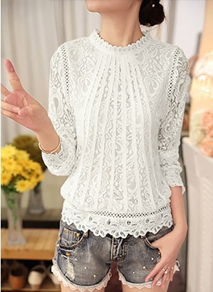 Solid Casual Lace Round Neckline Long Sleeve Blouses  ...