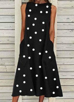 Casual Polka Dot Tunic Round Neckline Shift Dress (104146957)