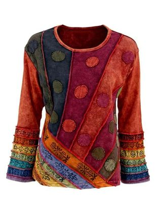 Color Block Casual Round Neckline Long Sleeve Blouses (107561188)