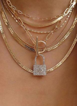 Elegant Lock Crystal Pendant Necklaces (5501585)