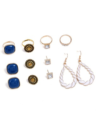 Geometric Crystal Earring Ring Jewelry Sets