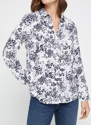 Floral Casual Collar Long Sleeve Blouses (146932216)