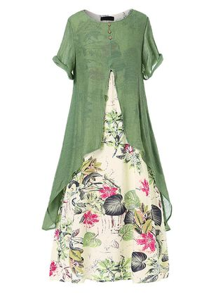 Casual Floral Round Neckline Maxi A-line Dress (1356542)