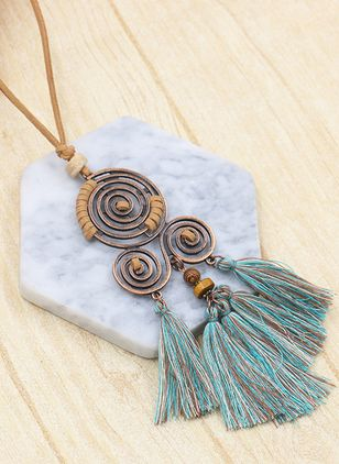 Boho Tassel Round No Stone Pendant Necklaces (1520803)