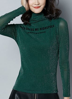 Alphabet High Neckline Long Sleeve Casual T-shirts