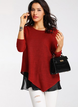 Color Block Casual Polyester Round Neckline Long Sleeve Blouses