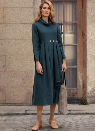 Solid Long Sleeve Midi X-line Dress