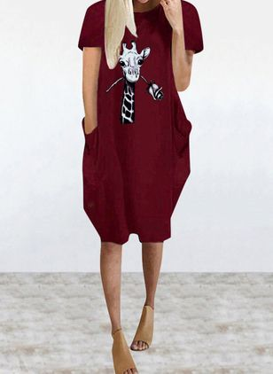 Casual Animal Tunic Round Neckline Shift Dress (4209083)
