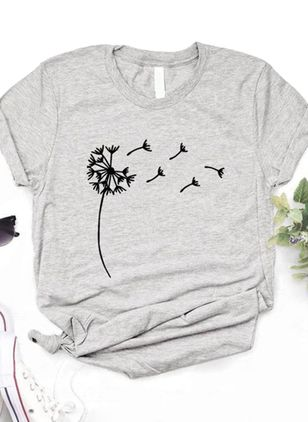 Floral Round Neck Short Sleeve Casual T-shirts (1537566)