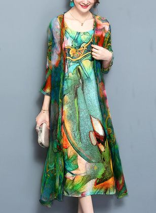 Arabian Floral Wrap Tunic A-line Dress