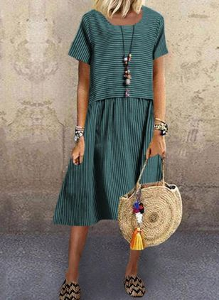 Casual Stripe Tunic Round Neckline A-line Dress (1540103)