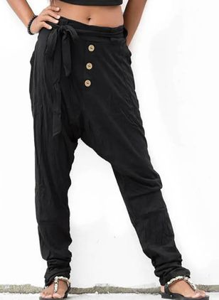 Casual Harem Buttons Low Waist Polyester Pants (106704391)