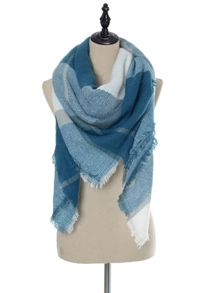 Elegant Polyester Color Block Scarves