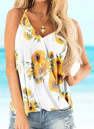 Floral Casual Camisole Neckline Sleeveless Blouses (147065579)
