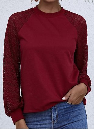 Solid Round Neck Long Sleeve Casual T-shirts (146910543)