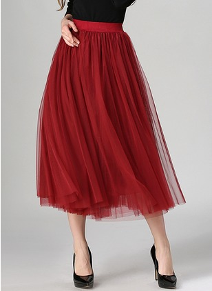 Polyester Solid Mid-Calf Elegant Ruffles Others Skirts