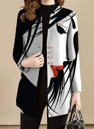 Long Sleeve Collarless Buttons Coats (146966238)