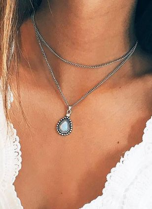Casual Water Drop No Stone Pendant Necklaces (4663271)