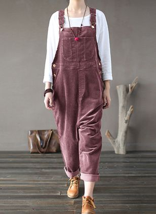 Casual Ruim Knopen Middentaille Corduroy Jumpsuits (146723061)