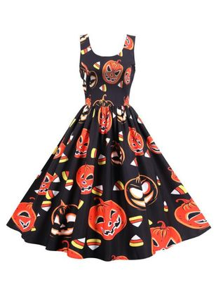Halloween Color Block Skater Round Neckline X-line Dress (109554410)