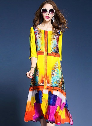Cotton Floral 3/4 Sleeves Midi A-line Dress