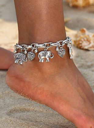 Casual No Stone Ball Animal Heart Anklet (4456926)
