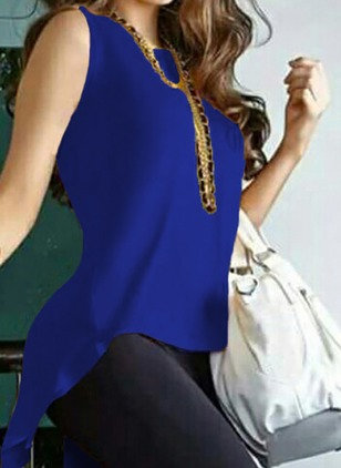 Polyester Solid Round Neck Sleeveless T-shirts