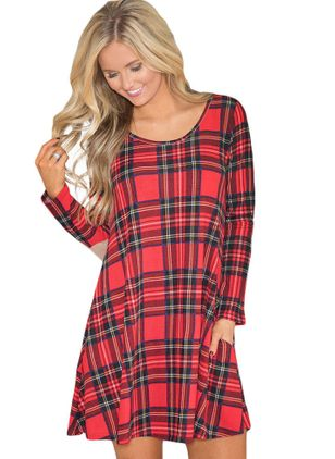 Plaid Long Sleeve Above Knee A-line Dress
