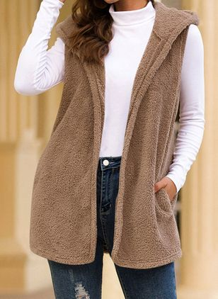Sleeveless Hooded Pockets Sleeveless Coats (146775118)