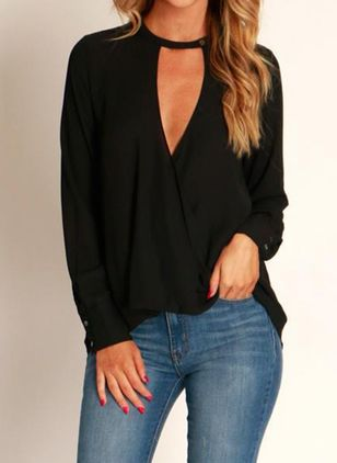 Solid Sexy V-Neckline Long Sleeve Blouses (146783989)