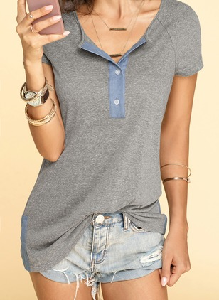 Cotton Linen Color Block Round Neck Short Sleeve T-shirts