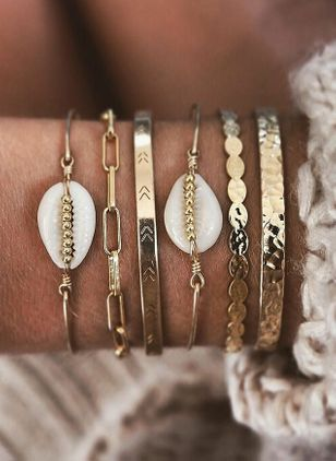 Casual Round No Stone Link Bracelets (1530773)