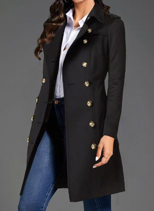 Long Sleeve Lapel Buttons Coats (106703326)