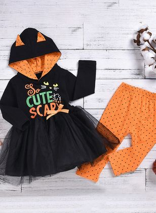 Girls' Halloween Alphabet Daily Long Sleeve Clothing Sets (112236637)