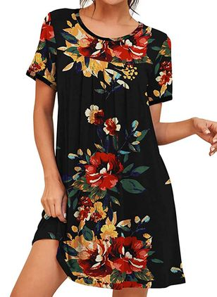 Casual Floral Tunic Round Neckline A-line Dress (147210184)