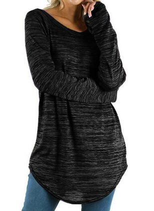 Boat Neckline Solid Loose Long Shift Sweaters