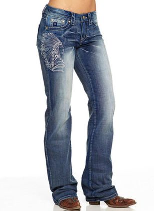 Casual Loose Pockets Mid Waist Denim Jeans (147494284)