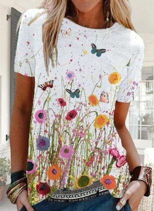 Floral Casual Round Neckline Short Sleeve Blouses (147137645)
