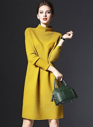 Solid Ruffles Long Sleeve Midi Shift Dress