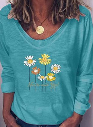 Floral V-Neckline Long Sleeve Casual T-shirts (6047014)