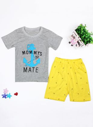 Boys' Casual Print Daily Short Sleeve Clothing Sets