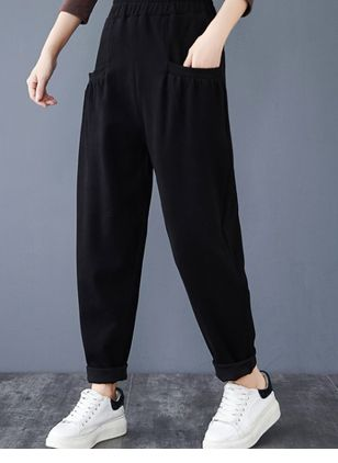 Casual Loose Pockets Mid Waist Polyester Pants (120649128)