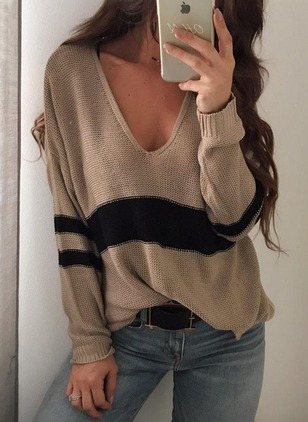 V-Neckline Color Block Loose Sweaters