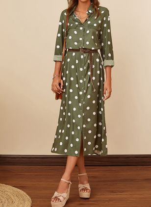 Elegant Polka Dot Shirt Collar X-line Dress (1522756)