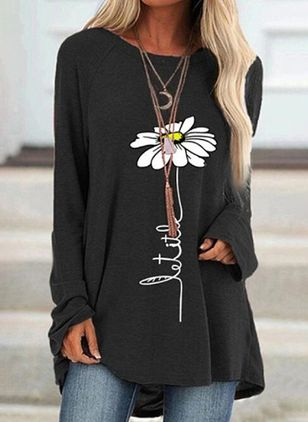 Floral Round Neck Long Sleeve Casual T-shirts (100668559)
